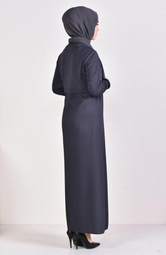 Kolu Lastikli Elbise 5254-03 Koyu Lacivert 5254-03