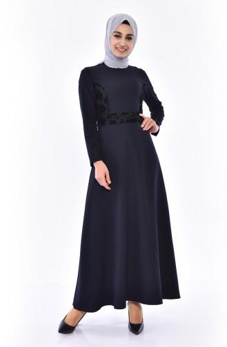Flok Baskılı Elbise 0055-01 Lacivert 0055-01