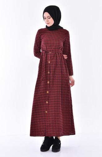 Knopf detaillierte kariertes Kleid 9031-01 Rot 9031-01