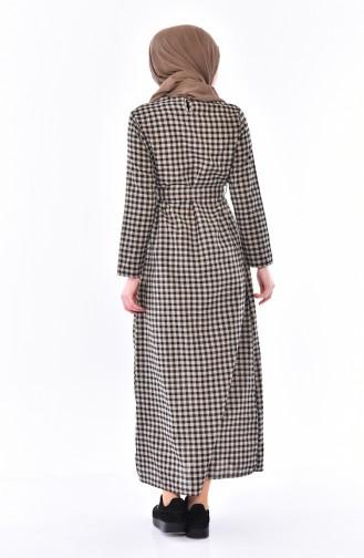 Knopf detaillierte kariertes Kleid 9031-04 Nerz 9031-04