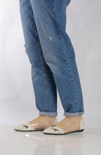 Women´s Flat Shoes (Ballerina ) 6802-2 Beige 6802-2