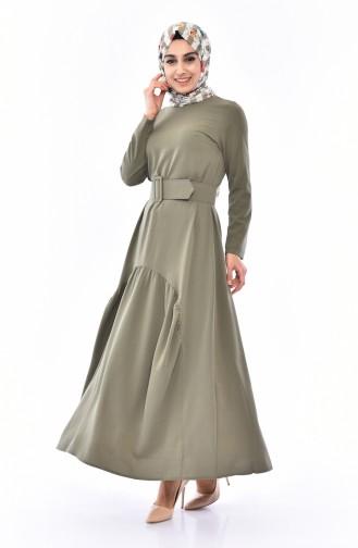 Oval Büzgülü Kemerli Elbise 1657-04 Haki