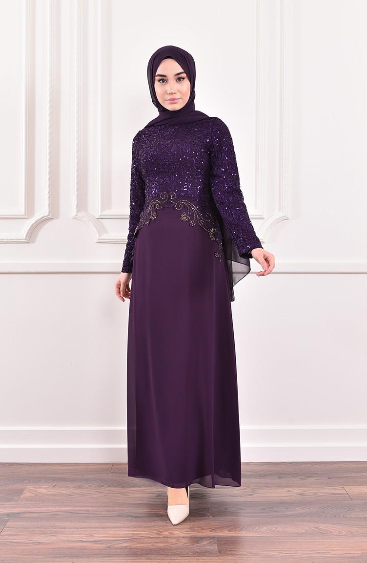 sefamerve mor tesettur abiye fycl52614 07 3142311555937692961 1 Purple Islamic Clothing Evening Dress 52614-07