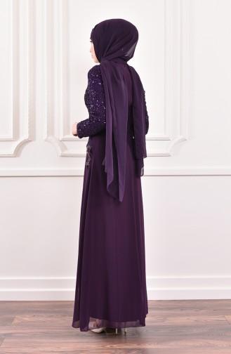 Robe de Soirée a Paillette 52614-07 Pourpre 52614-07