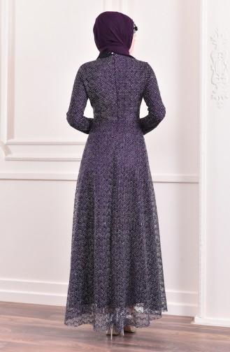 Glittered Evening Dress 8996-01 Purple 8996-01