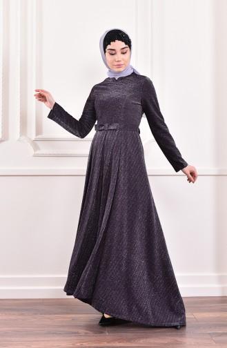 Silvery Belted Evening Dress 9065-01 9065-03 Purple 9065-03