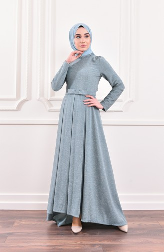 Silvery Belted Evening Dress 9065-06 Cagla Green 9065-06