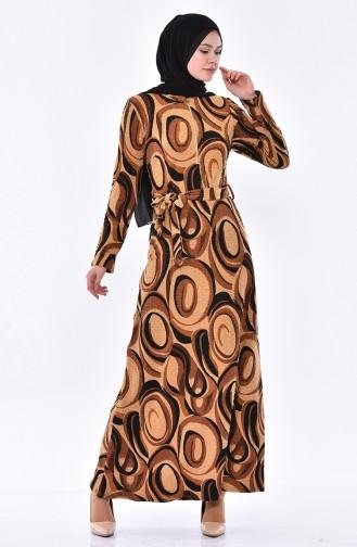 Fermuarlı Elbise 1106-02 Kahverengi
