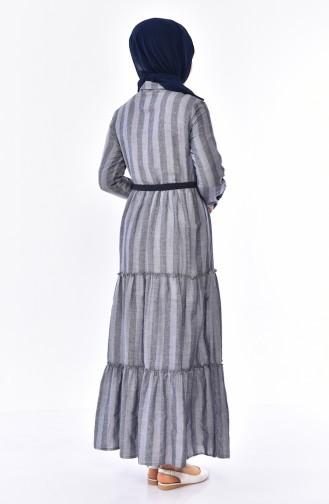 فستان بتصميم مُخطط وحزام للخصر 1931 A-01 لون كحلي 1931A-01