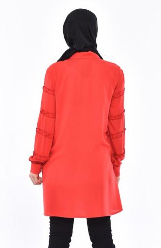 Kolu Fırfırlı Doğal Kumaş Tunik 6132-01 Kırmızı