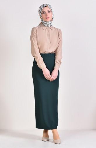 Elastic Pencil Skirt 2139-09 Emerald Green 2139-09