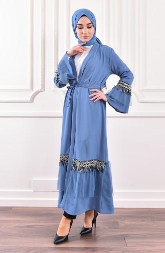 Sequined Detailed Belted Abaya 0575-03 Indigo 0575-03