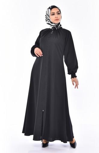 Abaya Perlées a Fermeture 6818-01 Noir 6818-01