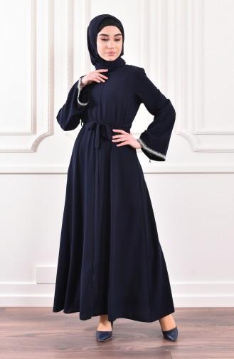 Belted Abaya 7827-04 Navy Blue 7827-04