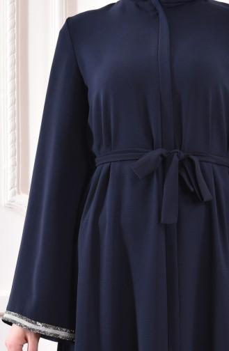 Abaya a Ceinture 7827-04 Bleu Marine 7827-04