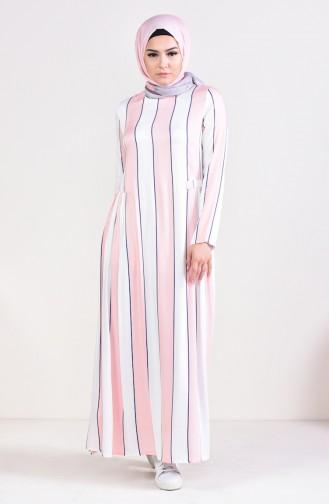 Kleid mit Plisee 1163-05 Dunkelblau Puder 1163-05