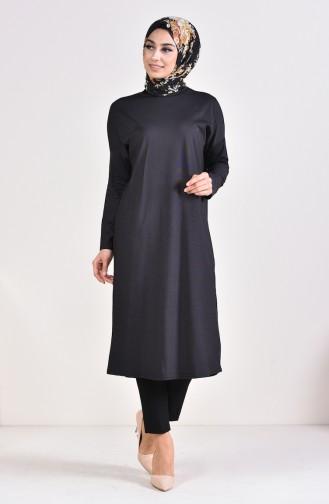 تونيك بتصميم أكتاف واسعة 9039-05 لون أسود 9039-05