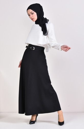 Belt Flared Skirt 0409-01 Black 0409-01
