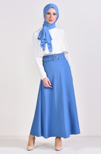 Belt Flared Skirt 0409-03 İndigo 0409-03