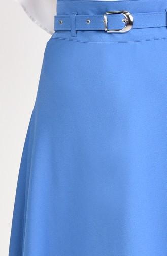 Belt Flared Skirt 0409-03 İndigo 0409-03