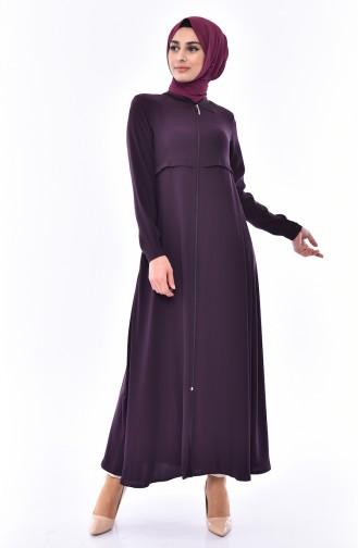 Zippered Crepe Abaya 0006-01 Purple 0006-01
