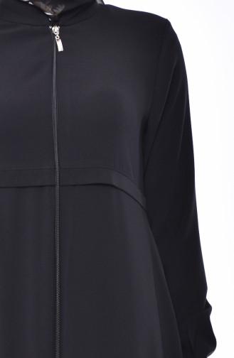 Zippered Crepe Abaya 0006-03 Black 0006-03