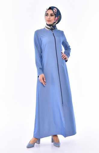 Zippered Abaya 1017-03 Blue 1017-03