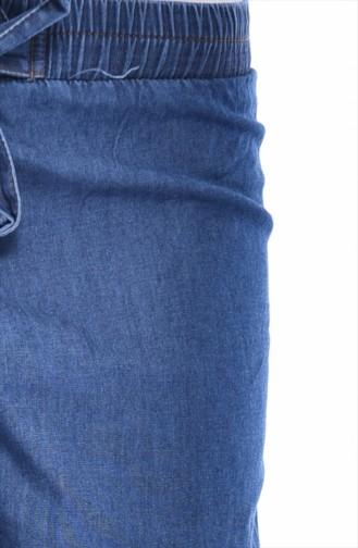 Elastic wide-leg Jeans 0005-02 Navy Blue 0005-02