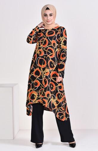 Patterned Tunic Pants Binary Suit 3005-01 Black Tile 3005-01