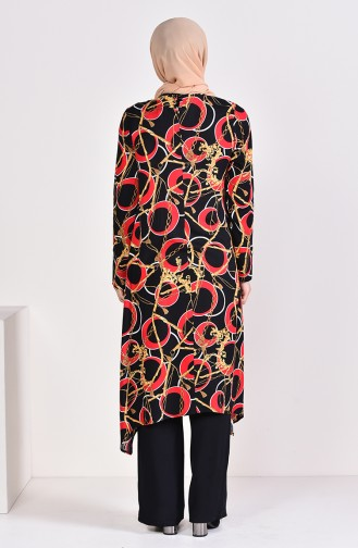 Patterned Tunic Pants Binary Suit 3005-03 Black Claret Red 3005-03