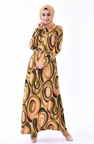 Fermuarlı Elbise 1106-01 Haki