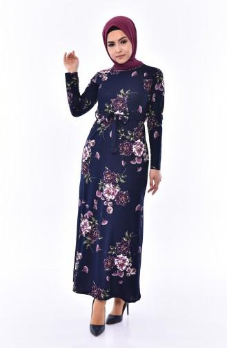 Patterned Belted Dress 4190-01 Navy Blue 4190-01