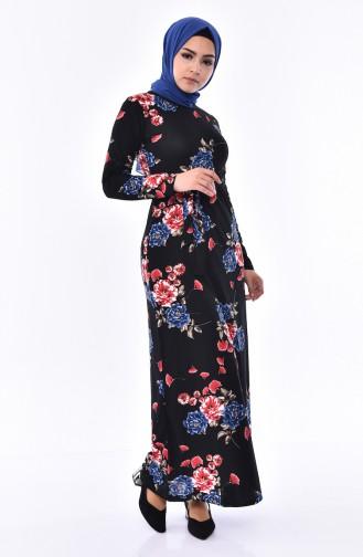 Patterned Belted Dress  4190-03 Black 4190-03