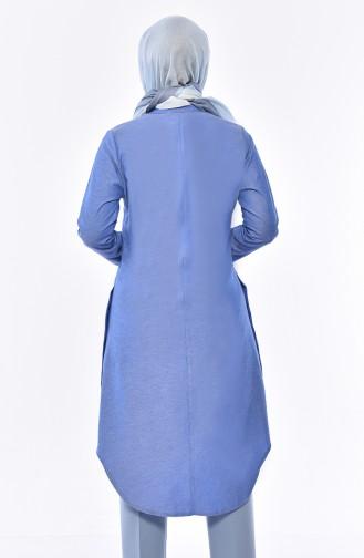 Tunique Asymétrique Détail Boutons 5415-01 Bleu 5415-01