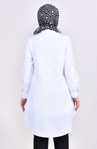 تونيك بتصميم ياقة مثنية 6375-01 لون أبيض 6375-01