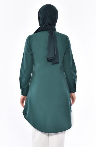 تونيك بتصميم ياقة مثنية 6375-08 لون أخضر زمردي 6375-08