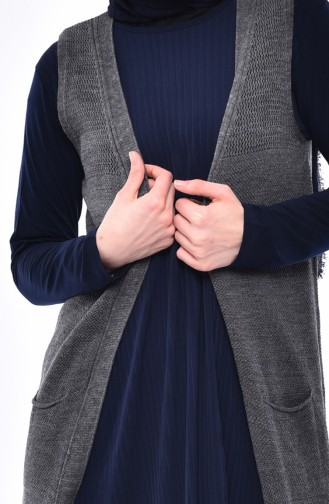 Slim Fit Knitwear Pocket Vest 4120-20 Smoked 4120-20