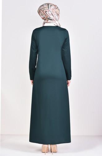 Abaya mit Reissverschluss 3048-05 Smaragdgrün 3048-05