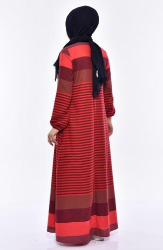 فستان بتصميم مُخطط 1010-07لون احمر 1010-07