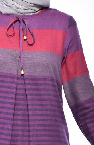 فستان بتصميم مُخطط 1010-08 لون بنفسجي فاتح 1010-08