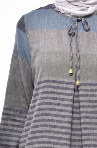 فستان بتصميم مُخطط 1010-09 لون رمادي 1010-09