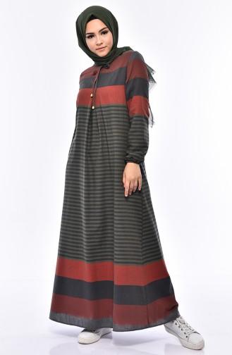فستان بتصميم مُخطط 1010-10 لون اخضر وبرتقالي 1010-10