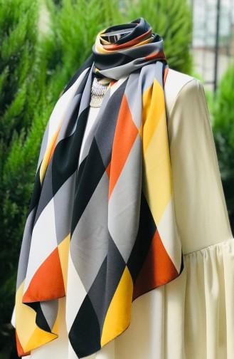 شال كريب بتصميم مُطبع 60890-01 لون رمادي 60890-01