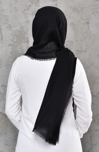 Monogram Pattern Cotton Shawl  901469-04 Black 901469-04