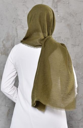 Monogram Pattern Cotton Shawl 901469-06 Khaki 901469-06