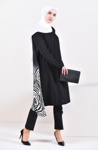 تونيك بتصميم موصول بقطعة 1264-01 لون أسود 1264-01