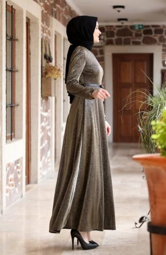 Silberfarbenes Abendkleid mit Gürtel 3208-02 Khaki 3208-02