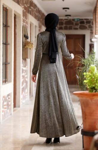 Belt Detailed Silvery Evening Dress 3208-02 Khaki 3208-02
