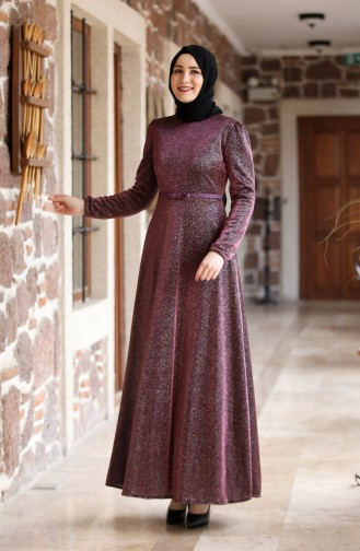 Belt Detailed Silvery Evening Dress  3208-03 Claret Red 3208-03