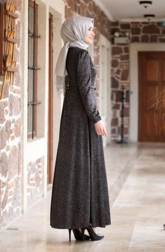 فستان سهرة لامع بتصميم حزام للخصر 3208-04 لون أسود 3208-04